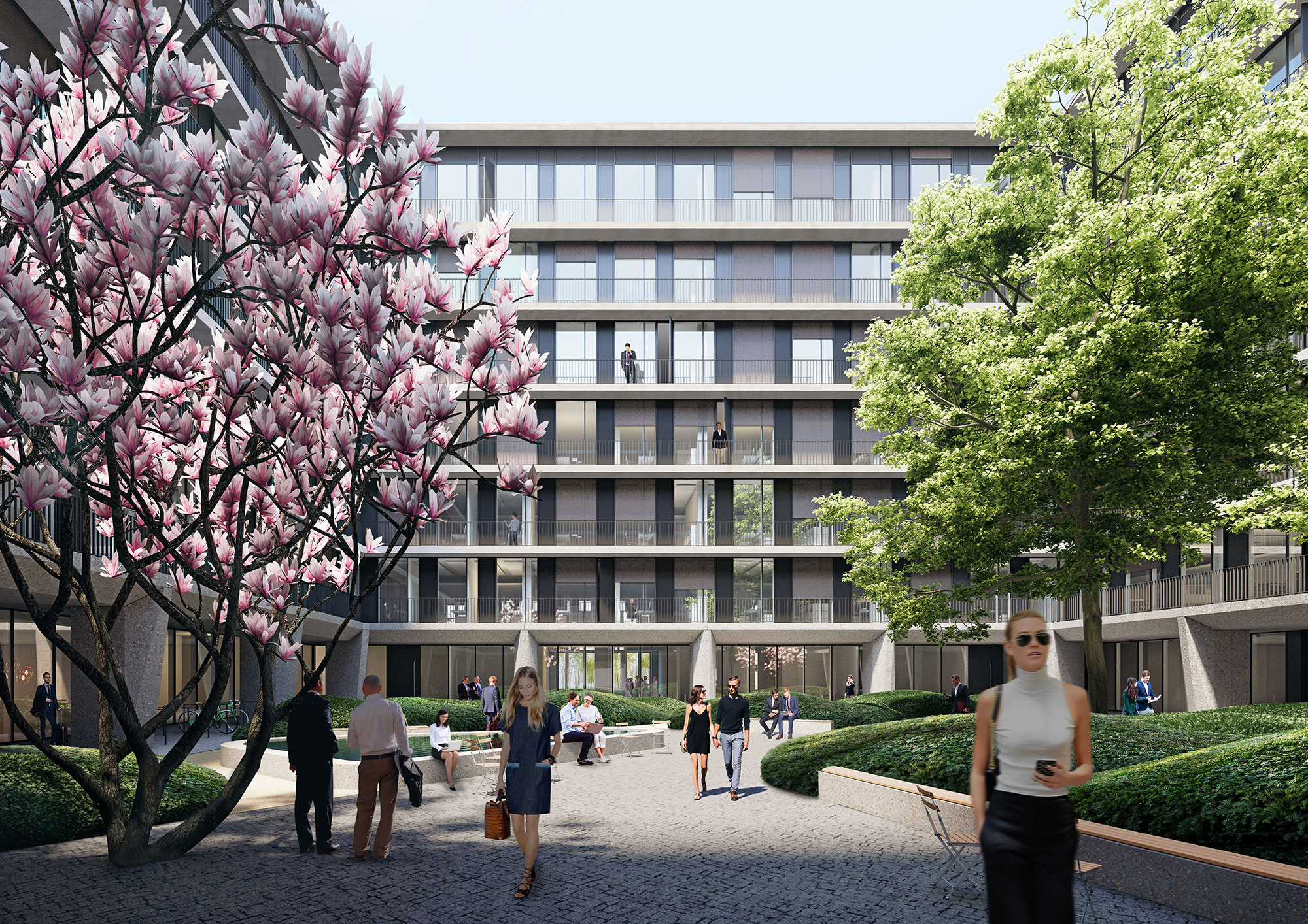 "The garden courtyard designed by Enzo Enea becomes KARL's ""village square"""